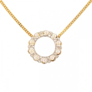 Collier motif perles blanches et roses de diamants en or bicolore