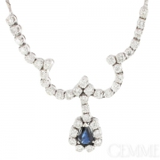 Collier Or Blanc Saphir Diamants 2,28 carats