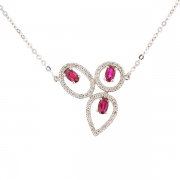 Collier pendentif diamants 0.31 carat et rubis en or blanc