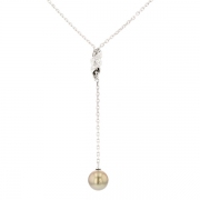Collier perle de Tahiti et diamants 0.06 carat en or blanc
