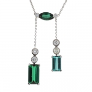 Collier tourmalines 7,133 carats et diamants 0,596 carat en or blanc