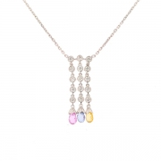 Collier pampilles saphirs de couleur et diamants 0.90 carat en or blanc