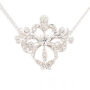 Collier pendentif floral diamants 1.60 carat en or blanc