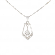 Collier ART DECO diamants 0.15 carat en or blanc