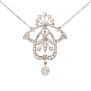 Collier ancien roses de diamants en or blanc 9.75grs