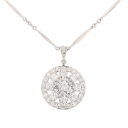 Collier diamants 3.21 carats en platine et or blanc