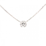 Collier solitaire diamant 1.87 carat en or blanc