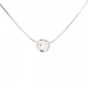 Collier solitaire diamant 0.35 carat en or blanc