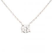 Collier solitaire diamant 0.50 carat en or blanc