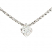 Collier solitaire diamant 0.30 carat en or blanc