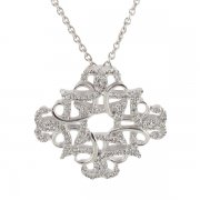Collier pendentif losange diamants 0,50 carat en or blanc - Neuf