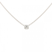Collier solitaire diamant 0.44 carat en or blanc