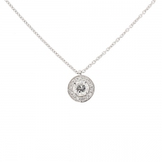 Collier solitaire diamants 0.30 carat en or blanc