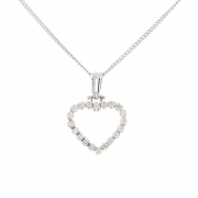 Collier pendentif coeur diamants 0.63 carat en or blanc