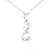 Collier pendentif trilogie de diamants 0.32 carat en or blanc