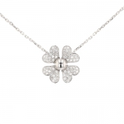 Collier trèfle diamants 0.72 carat en or blanc