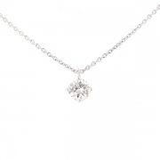 Collier solitaire diamant 0.61 carat en or blanc