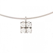 Collier cable et pendentif diamants 0.44 carat en or blanc