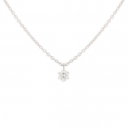 Collier solitaire diamant 0.38 carat en or blanc
