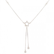 Collier pendentif étoile diamants 0.76 carat en or blanc