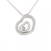 Collier signé CHOPARD  collection HAPPY DIAMONDS pendentif coeur vitre et diamants 0.60 carat en or blanc