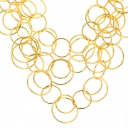 Collier maille ronde 3 rangs en or jaune 49.66grs