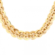 Collier maille contemporaine en chute en or jaune