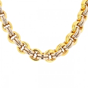 Collier maille jaseron double en or bicolore 42.08grs