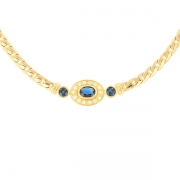 Collier saphirs et diamants 0.28 carat en or jaune