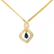 Collier pendentif diamants 1.02 carat et saphir 0.52 carat en or jaune