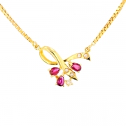 Collier pendentif rubis 0.36 carat et diamants 0.04 carat en or jaune