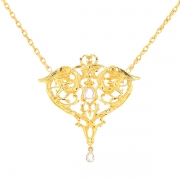 Collier motif chimère roses de diamants 0.25 carat en or jaune