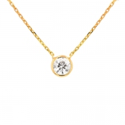 Collier solitaire diamant 0.64 carat en or jaune