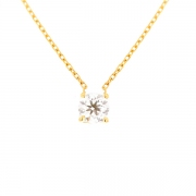Collier solitaire diamant 0.49 carat en or jaune
