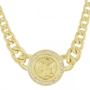 Collier pendentif cam�e et diamants 0,30 carat en or jaune
