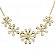 Collier floral contemporain diamants 2,94 carats en or jaune