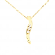 Collier pendentif trilogie de diamants 0.35 carat en or jaune