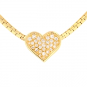 Collier pendentif cœur diamants 0.85 carat en or jaune