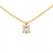 Collier solitaire diamant 0.95 carat en or jaune