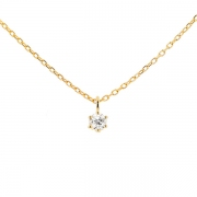 Collier solitaire diamant 0.20 carat en or jaune
