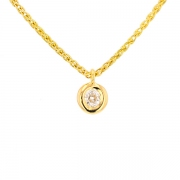 Collier solitaire diamant 0.30 carat en or jaune