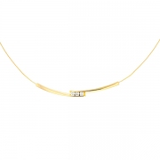 Collier trilogie de diamants 0.24 carat en or jaune
