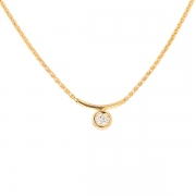 Collier solitaire diamant 0.25 carat en or jaune