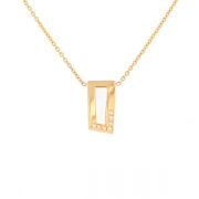 Collier pendentif rectangulaire diamants 0.14 carat en or jaune