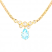 Collier diamants 1.25 carat et topaze poire en or jaune
