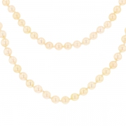 Collier perles et fermoir en or jaune