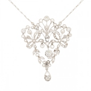 Collier style Belle Epoque diamants en platine