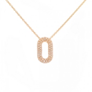 Collier pendentif pavage diamants 0.74 carat en or rose