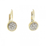 Boucles d'oreilles dormeuses pavage de diamants 0,24 carat en or bicolore