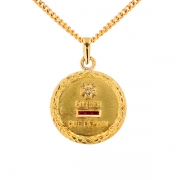 Médaille rubis et diamants en or jaune 7 grs